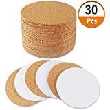 "30 Pack Self-Adhesive Cork Round 4"" Cork Tiles Cok Bcking Sheets Cork Coasters Round for DIY Crafts"