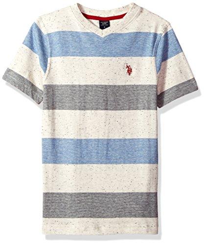 U.S. Polo Assn. Big Boys Short Sleeve Striped V-Neck T-Shirt