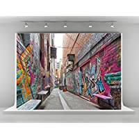 Kate 7x5ft Graffiti Wall Photography Backdrops Colorful Pattern Background for 90s Throwback Party Photobooth (style 1)