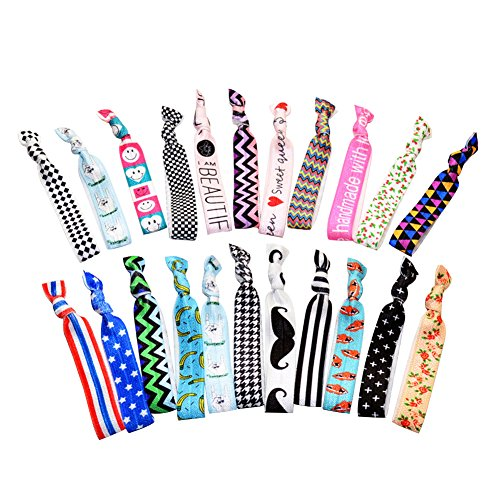 Print Pattern and Solid No Crease Elastic Ribbon Ponytail Holders Hair Ties Bands For Bridal Party Styling 22 Pack (Holder Tail 22)