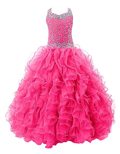 Price comparison product image Barbibridal Girls' Crystal Body Straps Layered Ball Gown Ruffles Pageant Dresses in Stock (6, rose red)