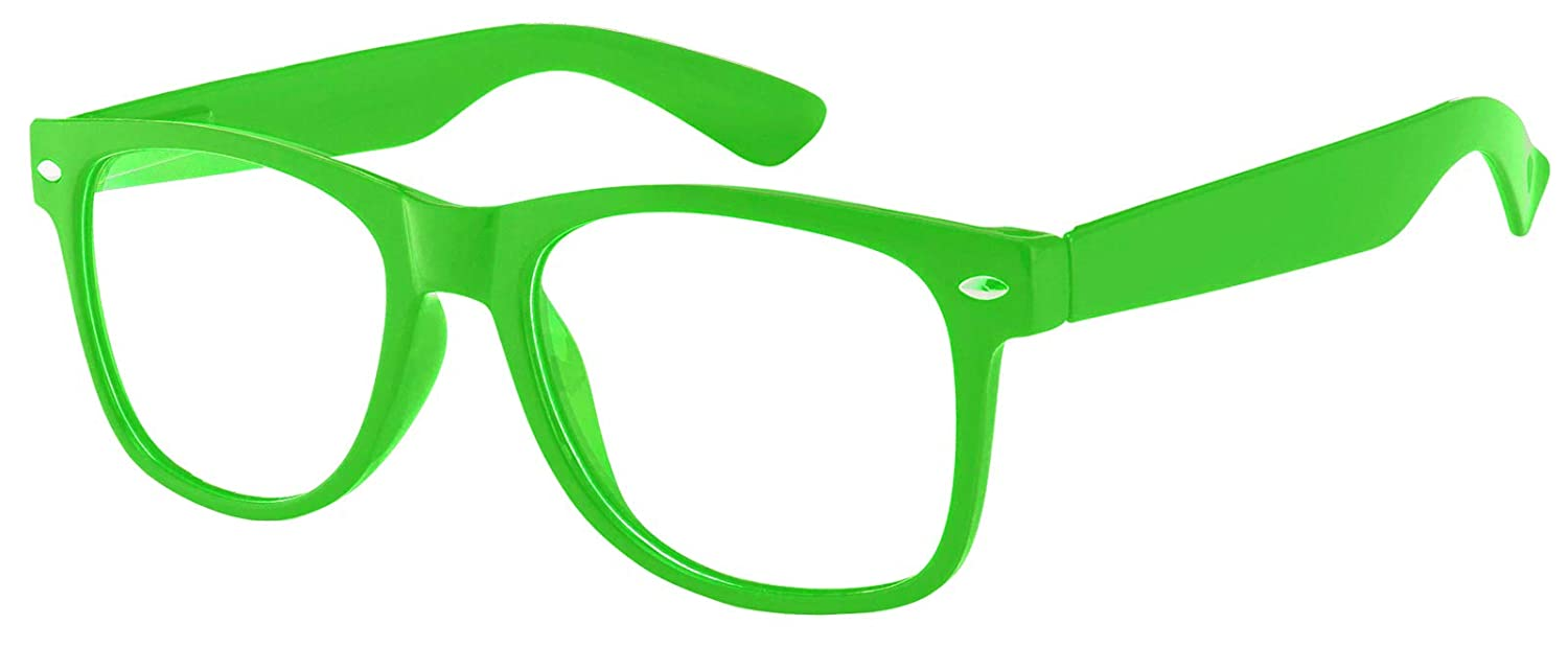 Retro 80s Vintage Sunglasses Green Frame with Clear Lens