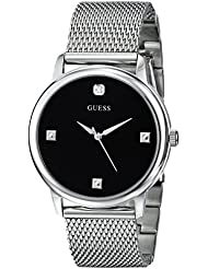 GUESS Mens Stainless Steel Diamond Black Dial Mesh Bracelet Watch, Color: Silver-Tone (Model: U0280G1)