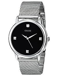GUESS Men's U0280G1 Slim Round Silver-Tone Diamond-Accented Mesh Watch