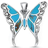 Filigree Design Turquoise Butterfly .925 Sterling Silver Pendant