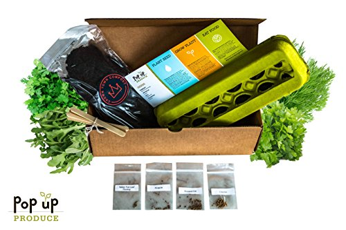 All in One - Organic Herbs Home Garden Compost, Container and Seed Starter Kit by Herbs Fresh Start Kit