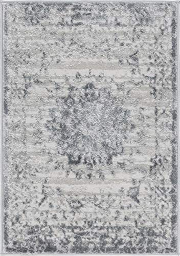 Unique Loom Aberdeen Collection Tone-on-Tone Traditional Textured Vintage Gray Area Rug 2 2 x 3 0