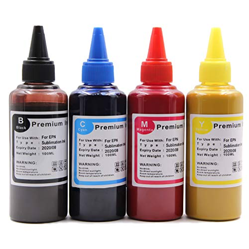 Topcolor 4X 100ML Black & CMY Color Sublimation Ink for Workforce WF-7610 WF-7010 WF-7710 WF-7720 WF-7110 WF-3640 WF-3610 WF-3540 Inkjet Printers (Only for Sublimation ()