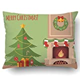 Emvency Pillowcases Xmas Dec Christmas Tree By The Fireplace Illustration Flat Style Pillow Case Cushion Cover Case Throw Pillow Case Lumbar 51x66 Inch