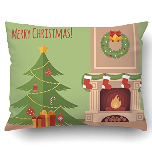 Emvency Pillowcases Xmas Dec Christmas Tree By The Fireplace Illustration Flat Style Pillow Case Cushion Cover Case Throw Pillow Case Lumbar 51x66 Inch by Emvency