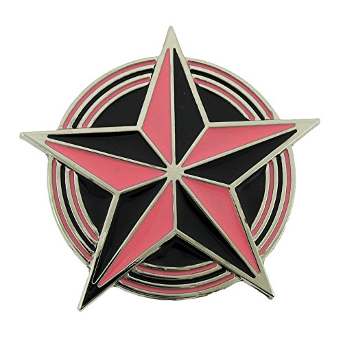 Nautical Star Black and Red Finishing Oval Belt Buckle