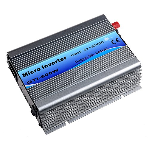 Solar Tie - Y&H Grid Tie Inverter 600W Stackable DC11-32V Input AC110V MPPT Pure Sine Wave Micro Inverter fit for 12V Solar Panel/24V Battery