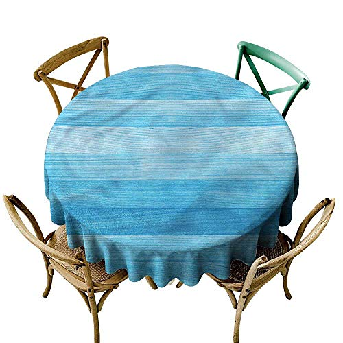 LsWOW 50 Inch Picnic Round Tablecloth Pale Blue Oak Tree Surface Planks Great for restauran & More - Oak Picnic Tables