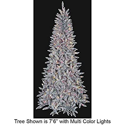 76hx46w silver tinsel iridescent multi color lighted artificial christmas tree - Amazon Christmas Tree Stand
