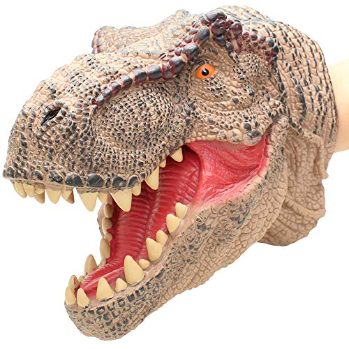 Lebze Dinosaur Hand Puppet for Kids and Toddlers, Large Soft Dino Hand Puppets Rubber Realistic Tyrannosaurus Rex Head ()