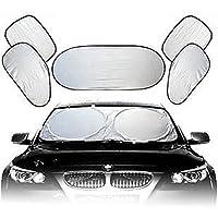 Brotechno Hot Sale 6pcs Folding Silvering Reflective Car Window Sun Shade Visor Shield Cover New Full Car Sun Shade Front Side Rear Window Windowscreen Reflector 6 Pcs Set