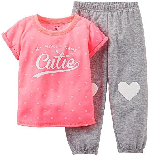 Carter's Baby Girls' 2 Piece Pant PJ Set (Baby) - Gray Heart - 18 Months