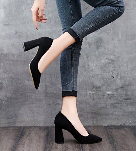 GTVERNH-Elegante Sexy Banchetto Con Difficili Puntata 8.5Cm Tacchi Scarpe Moda Corrisponde Tutto A Suo Agio Primavera Le Scarpe 37 Black