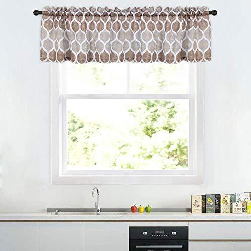 Haperlare Geometric Pattern Valance for Bathroom, Moroccan Design Valance Curtains for Windows, Rod Pocket Kitchen Valance Curtain Cafe Curtains, 56