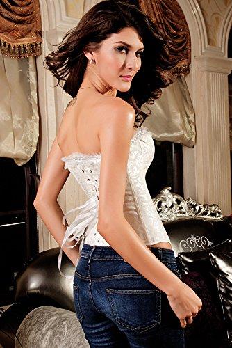 Saphira lencería. corsé bustier blanco con motivos florales se puede usar para una velada íntima o más de los pantalones vaqueros Blanc - White