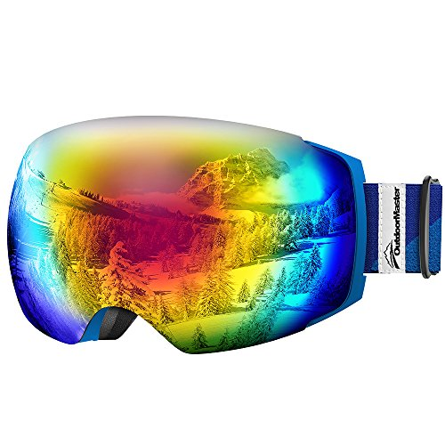 OutdoorMaster Ski Goggles PRO - Frameless, Interchangeable Lens 100% UV400 Protection Snow Goggles for Men & Women ( Blue Frame VLT 15% Colourful Lens and Free Protective Case ()