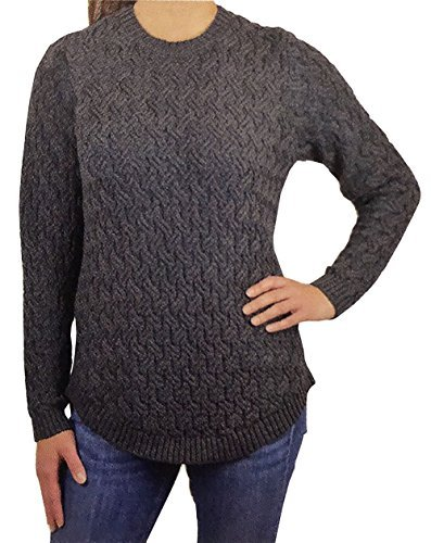Jeanne Pierre Women's Fisherman Cable-Knit Sweater (Charcoal Heather, XX-Large)