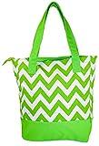 Ever Moda Chevron Canvas Tote Bag (Lime Green)