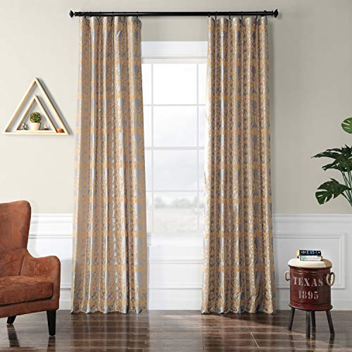 PTFFLK-C7E-84 Firenze Flocked Faux Silk Curtain, Silver & Gold, 50 x 84