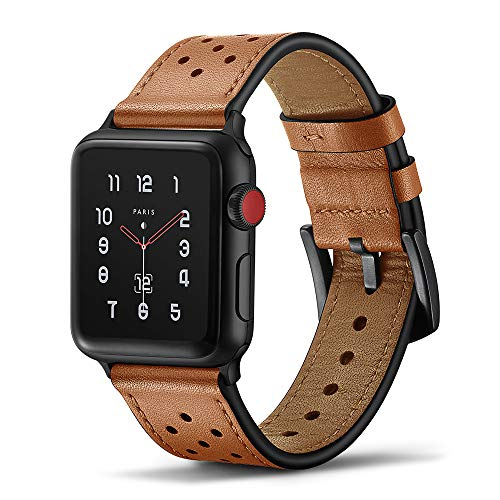 Lea Band Watch - Tasikar Leather Band Compatible with Apple Watch Band 42mm 44mm Genuine Leather Replacement Band Compatible with Apple Watch Series 4 (44mm) Series 3 Series 2 Series 1 (42mm) - Brown