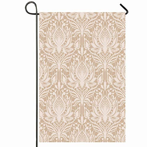 (Ahawoso Outdoor Garden Flag 28x40 Inches Pattern Beige Damask Lace Vintage Drawing Romantic Sewing Tatting Delicate Wedding Design Seasonal Home Decorative House Yard Sign)