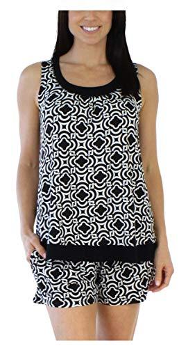 Black Shorty Pajamas - bSoft Women's Sleepwear Bamboo Jersey Tank and Shorts Pajama Pj Set, Black Mosiac (BSBJ1915-1057-LRG)