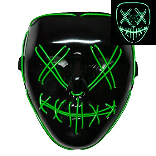 Light up LED Smiling Stitched Purge Mask for Halloween, Rave, Festivals, and Cosplay - 8 Colors (Green)