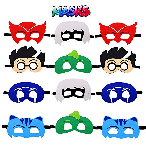 Cartoon Heros Felt Masks 12 pcs Party Supplies Cosplay Character Mask Party Favors for Kids Boys or Girls]()