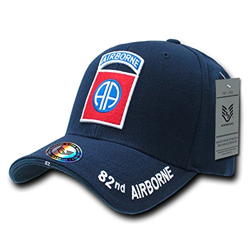 Blue 82nd Airborne Infantry Division US Army Military Structured Baseball Cap Hat