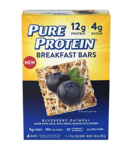 (Pure Protein Breakfast Bars, Blueberry Oatmeal, 1.76 oz, 4 Count)