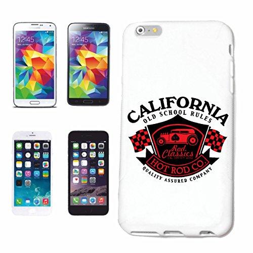 """cas de téléphone iPhone 7 """"HOT ROD CLASSIC CALIFORNIA OLD SCHOOL HOT ROD CAR US Mucle CAR V8 ROUTE 66 USA AMÉRIQUE"""" Hard Case Cover Téléphone Covers Smart Cover pour Apple iPhone en blanc"""