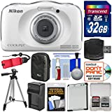 Nikon Coolpix W100 Wi-Fi Shock & Waterproof Digital Camera (White) with 32GB Card + Case + Battery & Charger + Tripod + Float Strap + Kit