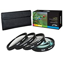 PLR Optics 55MM +1 +2 +4 +10 Close-Up Macro Filter Set with Pouch For The Sony DSC-HX300 Digital Camera