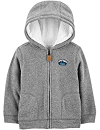Toddler Boys' Hooded Fleece Jacket with Sherpa Lining