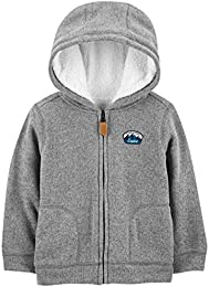 Toddler Boys Hooded Fleece Jacket with Sherpa Lining