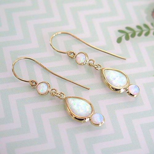 White Opal Earrings - 14k Gold Opal Earrings - Gold Earrings for Women - Gift for Her by Adita Gold