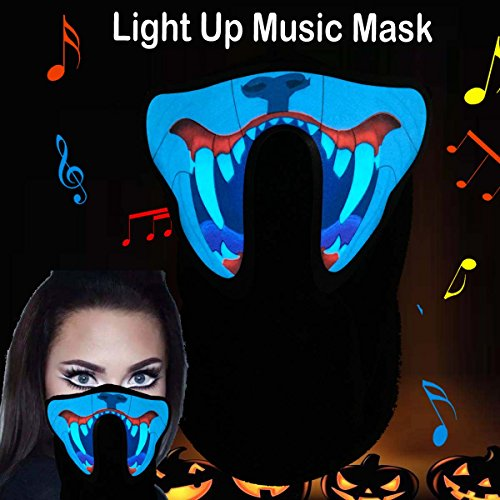 Flashingworld Music Led party Mask with sound active for dancing,riding,skating,party and any festival (long teeth)