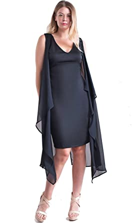 1d4f6440e8c Nyteez Women s Plus Size Black Dress with Attached Chiffon Cape Vest ...