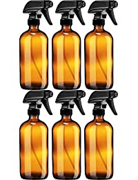 Empty Amber Glass Spray Bottle - Large 16 oz Refillable Container for Essential Oils, Cleaning Products, or Aromatherapy - Black Trigger Sprayer w/Mist and Stream Settings - 6 Pack