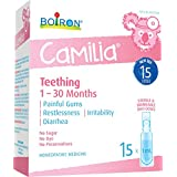 Boiron Camilia Baby Teething Relief Medicine, 15 unit-doses (1 ml each). Camilia relieves pain, restlessness, irritability and diarrhea due to teething. Benzocaine-Free and Preservative-Free with Natural Active Ingredient,No Sugar, No Dye