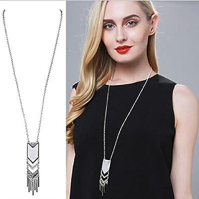 Hanloud Bohemia Tassel Pendant Necklace Coins Chunky Choker Dream Catcher Long Chain Geometric Necklace