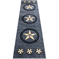 Texas Star Horse Cowboy Western Area Rug Grey Carpet (2 Feet X 7 Feet Runner)