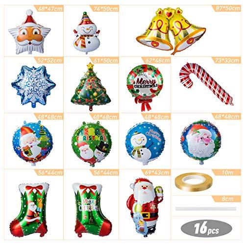 Mity rain 6PCS Large Christmas Aluminum Foil Balloons-Santa Claus//Snowman//Christmasbear//elk//Penguin Mylar Helium Balloon for New Year Party Decor Xmas Supplies