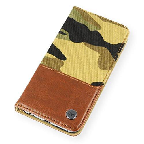 QIOTTI Q. Book Urban Premium Eco Livret en similicuir Coque pour iPhone 5/5S Motif camouflage–Marron