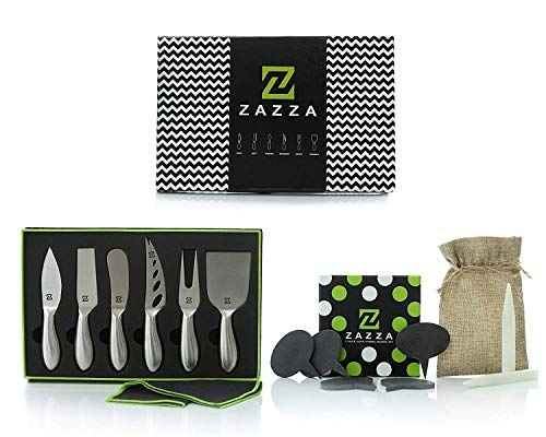 - Zazza Cheese Knife Set with Slate Cheese Markers, Chalk and Polishing Cloth